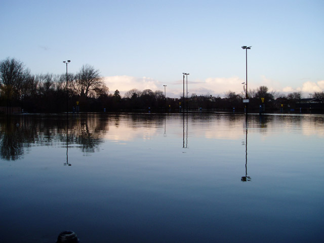 Flooded Frankwell car park, Shrewsbury
