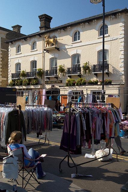 Market stalls in front of the Golden Lion Hotel, St Ives