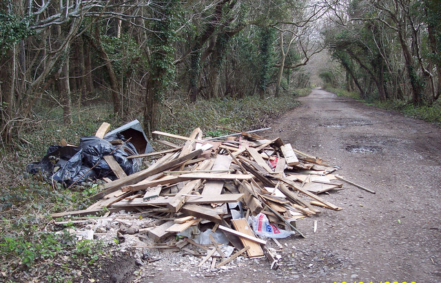 Flytipped Builders Material on the Old Shaston Drove