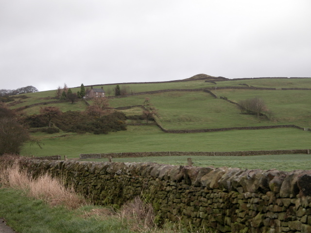 House and fields on the slopes of Sheen Hill