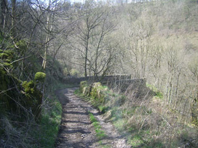 Stone bridge over quarry traffic railway.