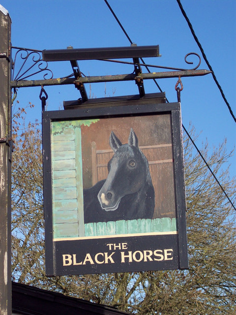 Sign for the Black Horse Inn, Hurdcott