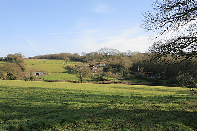 Fields and properties on Grosvenor Road, Soldridge seen from Gullet Lane byway
