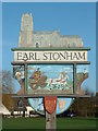 TM0959 : Earl Stonham Village Sign (Detail) by Keith Evans