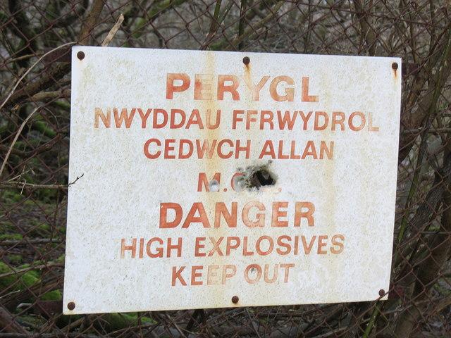 Danger  Explosive Substances - Sign at Upper Glynrhonwy Quarry