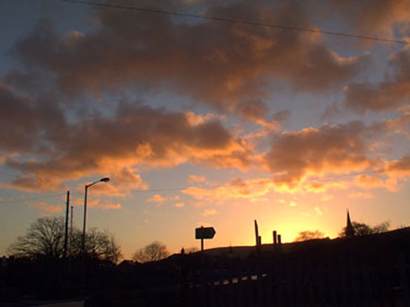 Sunrise over Otley Town.