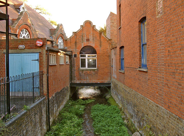Watercourse which runs beside the Town Hall, Waltham Abbey, Essex.