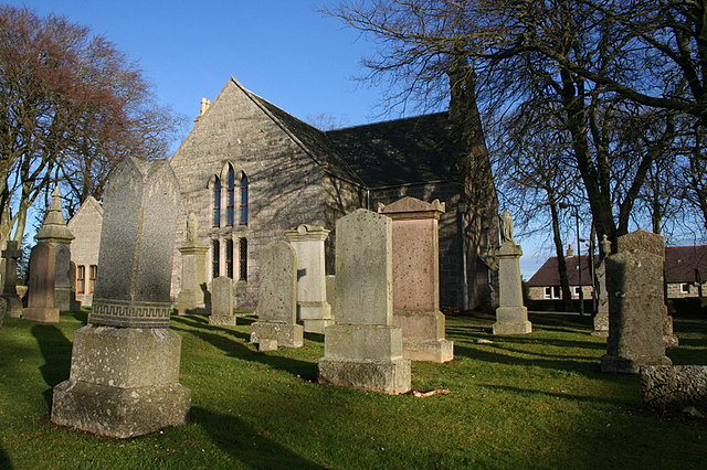 The west wall of Church of Scotland, New Pitsligo.