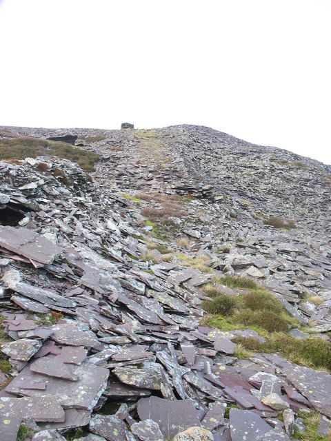 Looking up towards the upper drumhouse from the middle tier waste tip at Cefn Du Quarry