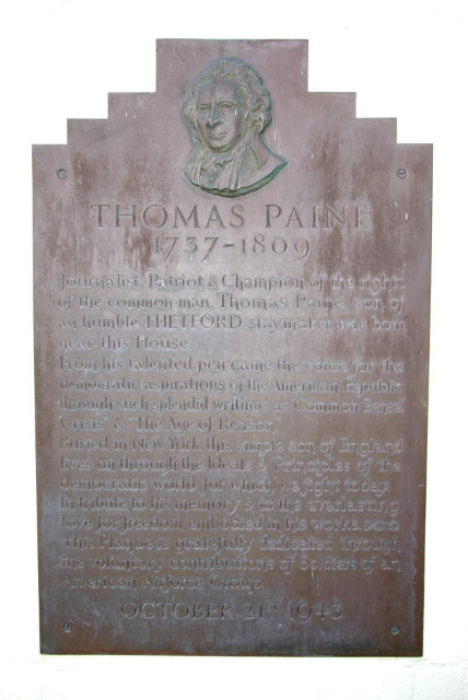 Thomas Paine Commemorative Plaque