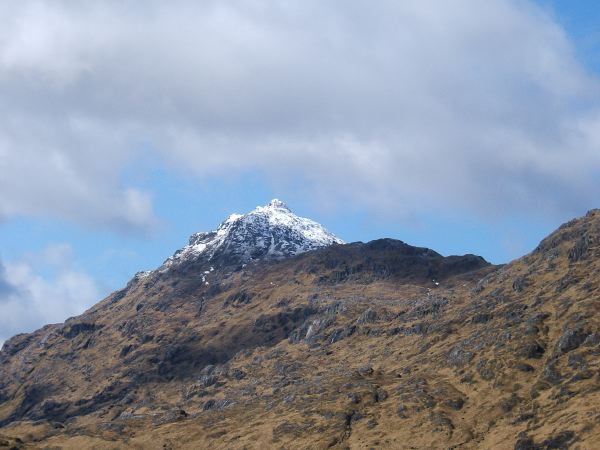 """Look towards Meall na Sroine, the """"peak of the Nose"""", with the snowy peak of Bidein a Chabair in the background"""