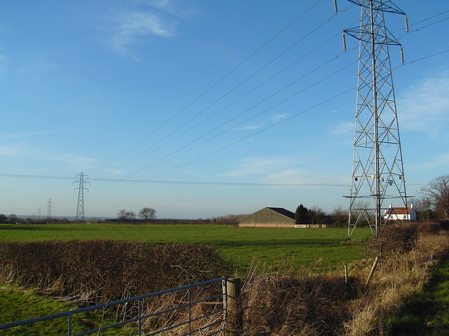 Fonaby Low Farm and pylons
