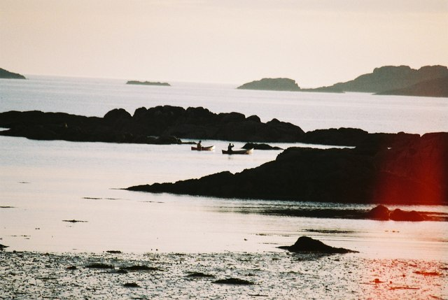 Canoeists at low tide