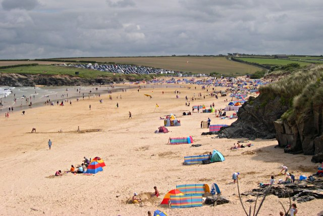 Harlyn Bay beach in August