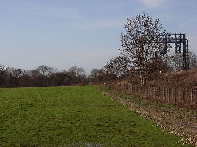 Farmland and railway embankment, Sparsholt
