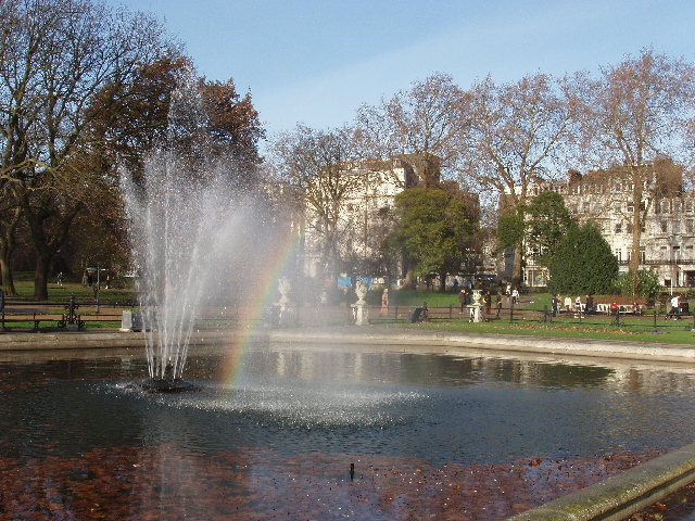 Italian Fountains, rainbow and Bayswater Road