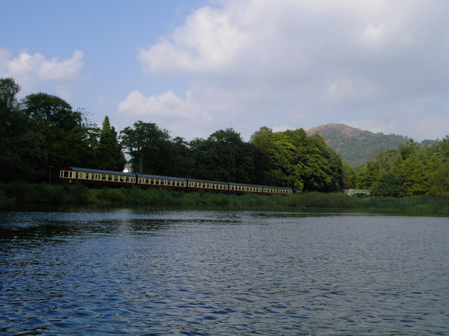 Lakeside train beside the River Leven