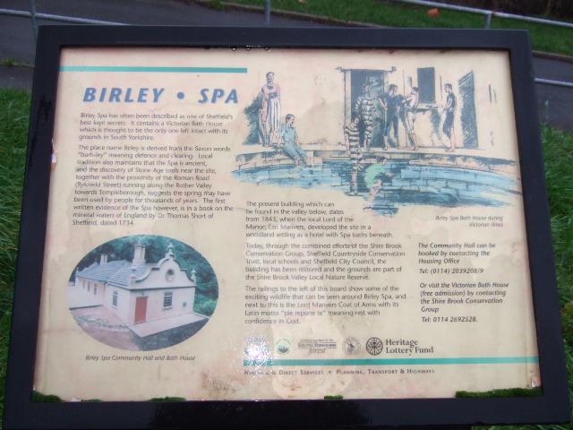 Birley Spa Plaque