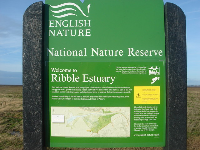 Sign for nature reserve on Marine Drive, Southport