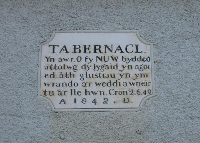 Plaque on Y Capel Tabernacl, Pantymwyn