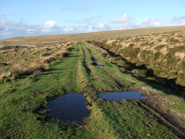 Track beside drain on Penn Moor