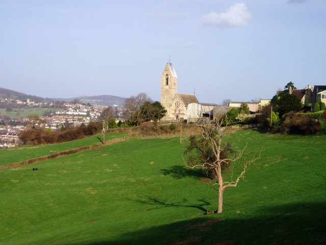 Selsley church from across the fields