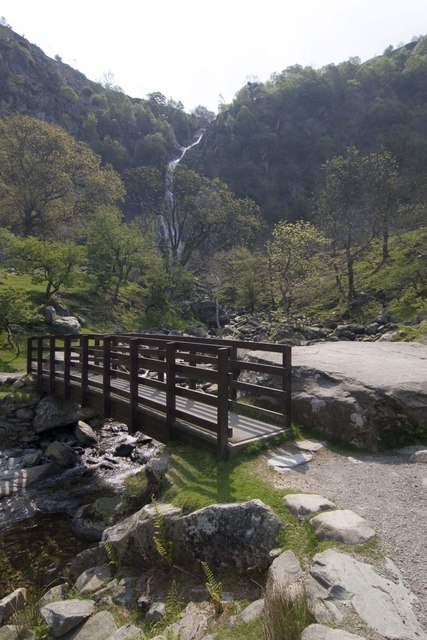 Footbridge over stream at Aber Falls