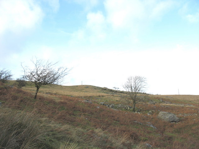 Looking upslope in the direction of the Bwlch-y-groes tramway route