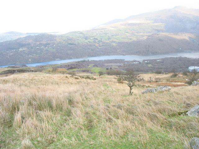 Looking down the 3rd pitch of the Ffridd Incline towards the drum house next to the Cook&Ddol Quarries