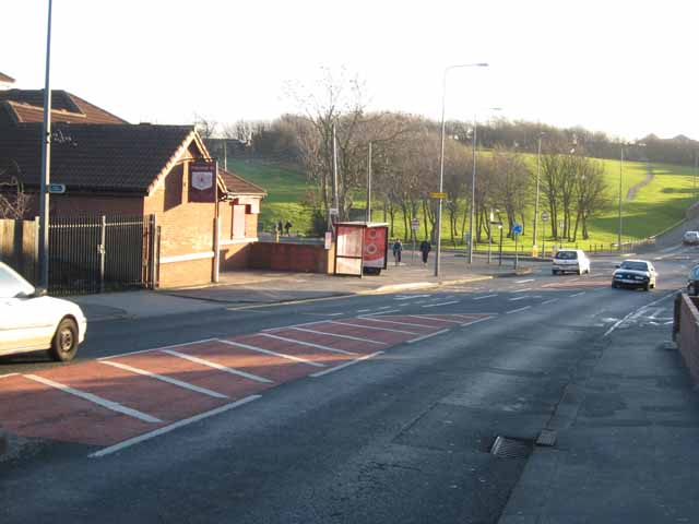 Red Star public house and mini-roundabout in Seaton