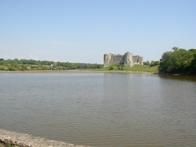 Carew castle showing tidal mill pond.