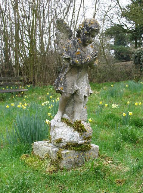All Saints, Hethel, Norfolk - Angel in Churchyard