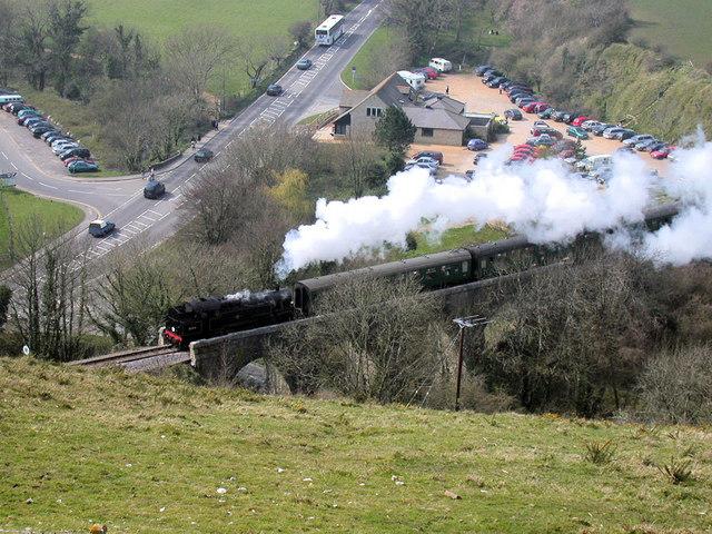 Swanage Railway train on viaduct