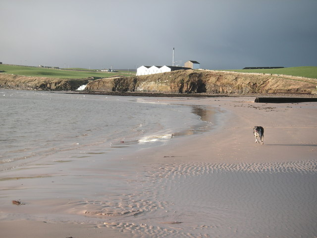 Scapa Beach and the re-furbished Scapa Distillery