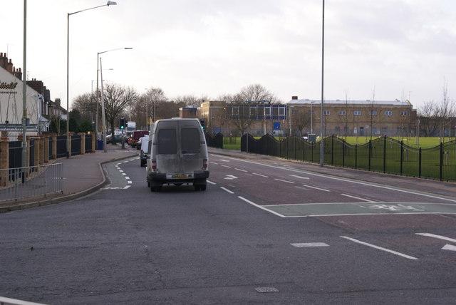Road junction by Westwood Bridge