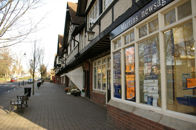 Parade of shops opposite Bournville village green