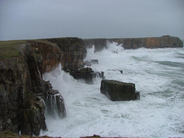Stormy seas at St Govans