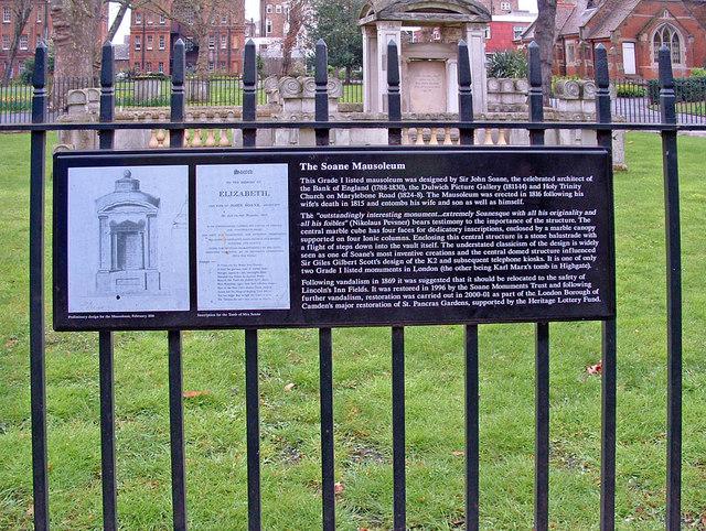 Plaque detailing information about the Soane Mausoleum