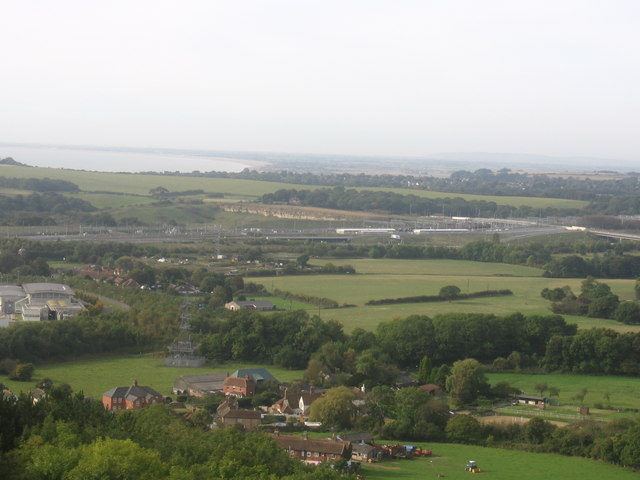 Peene village from the North Downs Way