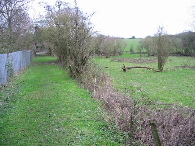 Looking SE along bridleway near Beeches Farm.