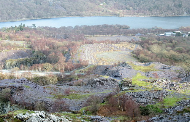 Waste runs on the south side of the two Glynrhonwy Quarries