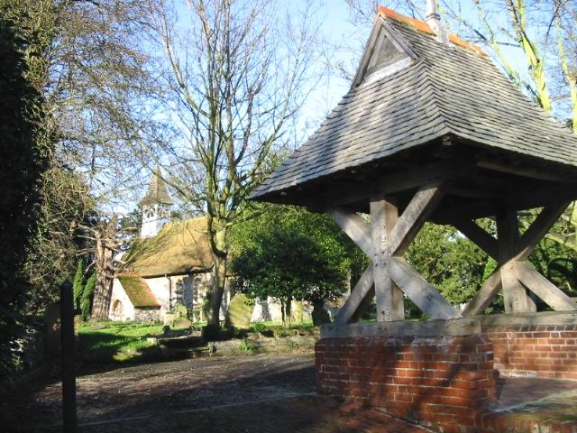 Ham church and lych gate.