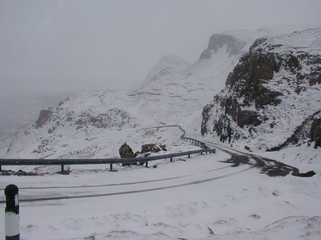 Quiraing Road on a Snowy Day