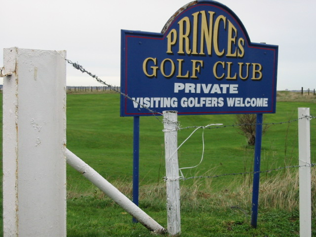 Sign for Prince's Golf Club, Sandwich Bay.