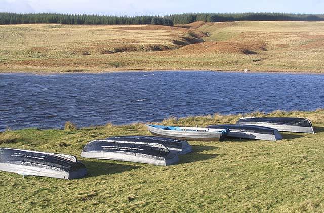 Rowing boats by Headshaw Loch