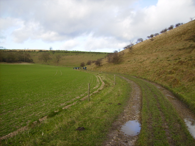 Footpath running down Thixendale Wold