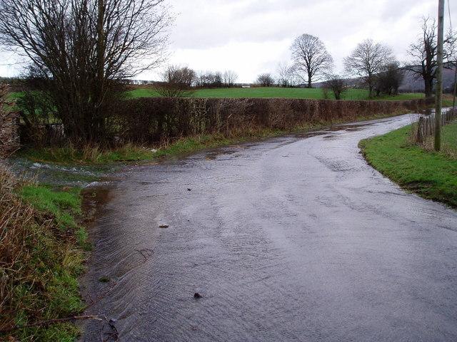 Flooded minor road near Cynwyd