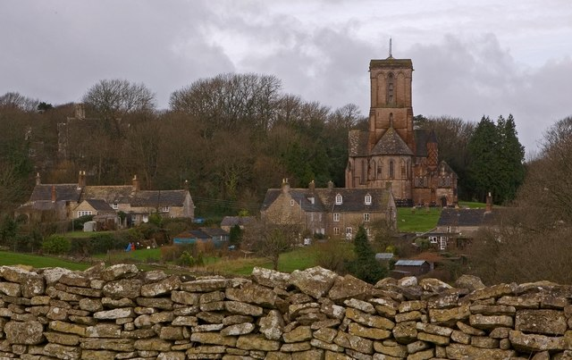 Kingston Church & limestone dry stone wall
