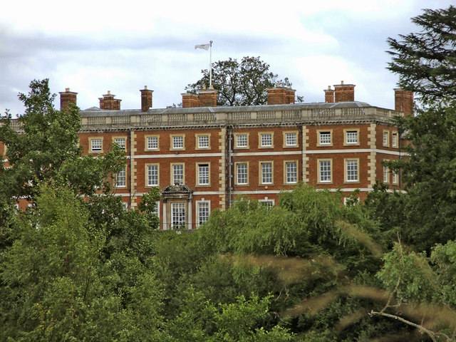 Back of Trent Park House taken from other side of the lake