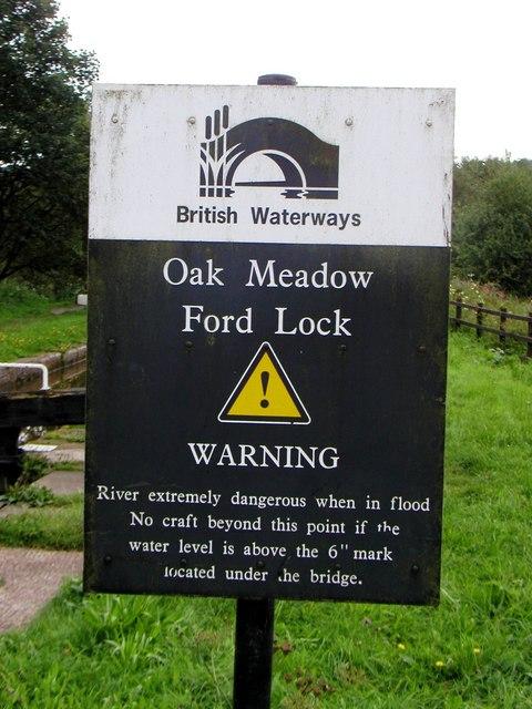 Oak Meadow Ford Lock warning sign